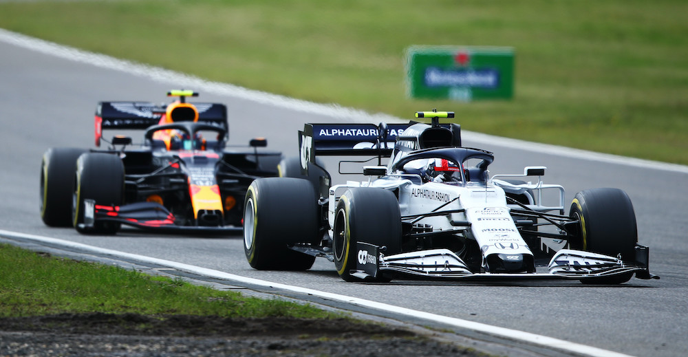NUERBURG, GERMANY - OCTOBER 11: Pierre Gasly of France driving the (10) Scuderia AlphaTauri AT01 Honda leads Alexander Albon of Thailand driving the (23) Aston Martin Red Bull Racing RB16 on track during the F1 Eifel Grand Prix at Nuerburgring on October 11, 2020 in Nuerburg, Germany. (Photo by Joe Portlock/Getty Images) // Getty Images / Red Bull Content Pool  // SI202010110224 // Usage for editorial use only //