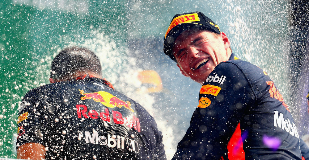 MEXICO CITY, MEXICO - OCTOBER 29:  Race winner Max Verstappen of Netherlands and Red Bull Racing celebrates on the podium during the Formula One Grand Prix of Mexico at Autodromo Hermanos Rodriguez on October 29, 2017 in Mexico City, Mexico.  (Photo by Clive Rose/Getty Images)