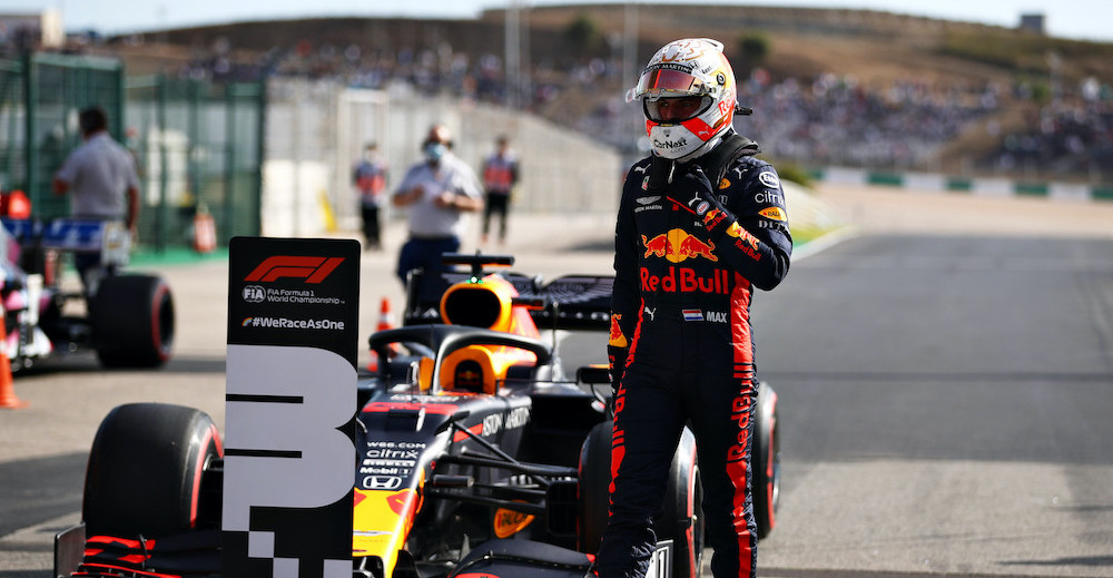 PORTIMAO, PORTUGAL - OCTOBER 24: Third place qualifier Max Verstappen of Netherlands and Red Bull Racing walks from his car in parc ferme during qualifying ahead of the F1 Grand Prix of Portugal at Autodromo Internacional do Algarve on October 24, 2020 in Portimao, Portugal. (Photo by Mark Thompson/Getty Images) // Getty Images / Red Bull Content Pool  // SI202010240292 // Usage for editorial use only //