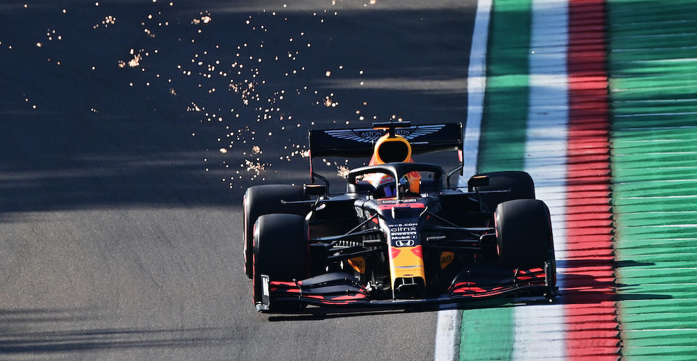 IMOLA, ITALY - OCTOBER 31: Max Verstappen of the Netherlands driving the (33) Aston Martin Red Bull Racing RB16 on track during practice ahead of the F1 Grand Prix of Emilia Romagna at Autodromo Enzo e Dino Ferrari on October 31, 2020 in Imola, Italy. (Photo by Miguel Medina - Pool/Getty Images) // Getty Images / Red Bull Content Pool  // SI202010310203 // Usage for editorial use only //
