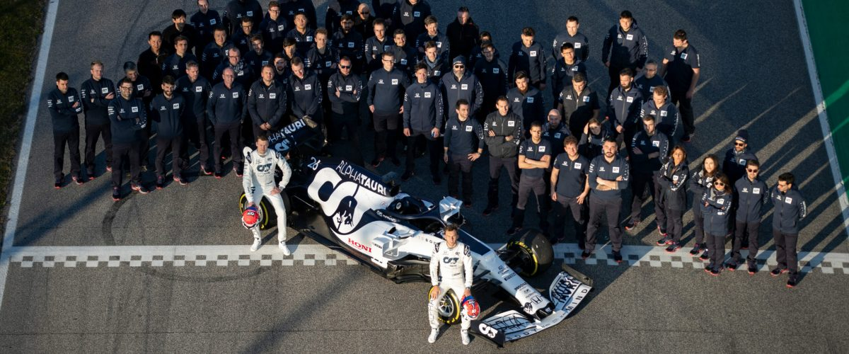 Scuderia AlphaTauri pose for a photo during the filming day in Misano, Italy on February 15, 2020 // Samo Vidic/Red Bull Content Pool // SI202002150265 // Usage for editorial use only //