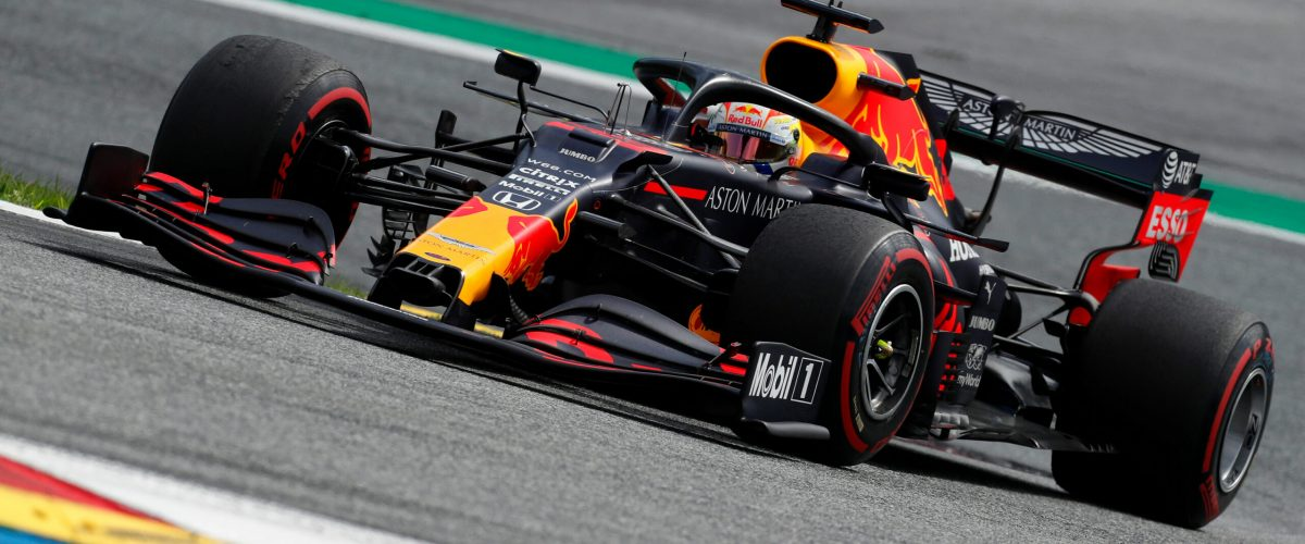 SPIELBERG, AUSTRIA - JULY 12: Max Verstappen of the Netherlands driving the (33) Aston Martin Red Bull Racing RB16 on track during the Formula One Grand Prix of Styria at Red Bull Ring on July 12, 2020 in Spielberg, Austria. (Photo by Darko Bandic/Pool via Getty Images) // Getty Images / Red Bull Content Pool  // SI202007120264 // Usage for editorial use only //