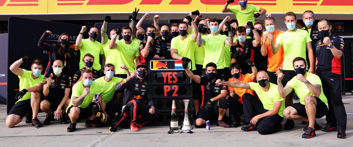 BUDAPEST, HUNGARY - JULY 19: Second placed Max Verstappen of Netherlands and Red Bull Racing celebrates with his team in the Pitlane after the Formula One Grand Prix of Hungary at Hungaroring on July 19, 2020 in Budapest, Hungary. (Photo by Getty Images/Getty Images) // Getty Images / Red Bull Content Pool  // SI202007190280 // Usage for editorial use only //