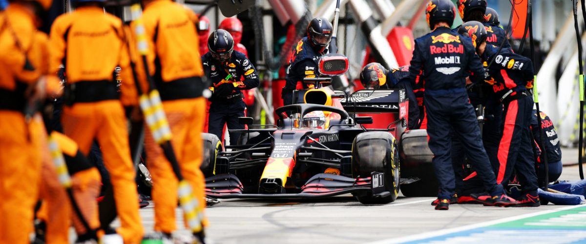 BUDAPEST, HUNGARY - JULY 19: Max Verstappen of the Netherlands driving the (33) Aston Martin Red Bull Racing RB16 comes in for a tyre change during the Formula One Grand Prix of Hungary at Hungaroring on July 19, 2020 in Budapest, Hungary. (Photo by Peter Fox/Getty Images) // Getty Images / Red Bull Content Pool  // SI202007190303 // Usage for editorial use only //